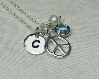 Initial Necklace Silver Monogram Necklace Peace Sign Necklace Birthstone Necklace Personalized Mothers Necklace Personalized Jewelry