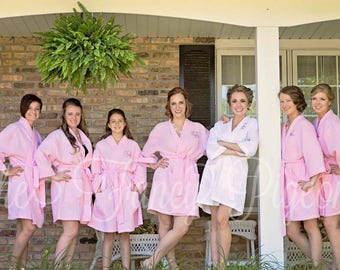 BLUSH WAFFLE ROBES - Wedding Day Robes - Bridesmaid Robe Set - Wedding Robe - Bridal Party Robe - Bridesmaid Robe - Getting Ready Robes