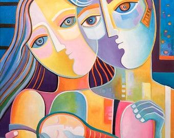 Modern Abstract Oil Painting La Familia Original artwork Marlina Vera Fine Art gallery Cubism Cubist Picasso style Family Couple Love Fauve