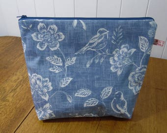 Blue Floral Print Project Bag- oilcloth