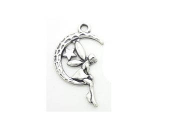 SET of 5 charms on the silver Moon (A09) fairy pendant charm