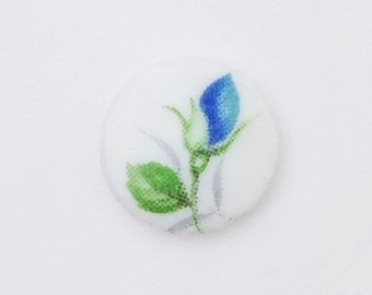Vintage Blue Flower Bud Glass Cabochons Japan 10mm cab420D