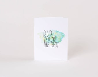 Funny fathers day card. Best Dad ever. Watercolour card.