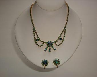Vintage DAC Aurora Borealis Rhinestone Necklace and Screw Back Earrings Set