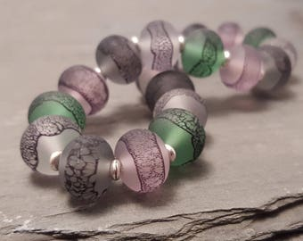 Lampwork Glass Bead Stretch Bracelet - Sea glass green, grey and pink tones, Handmade with Silver tone or Sterling Silver accent beads