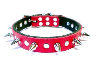 "3/4"" Soft Fire Red, Thick Leather Spiked Dog Collar with Spot Rivet Studs & Small Tree Spikes"
