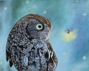 Owl and Lightning Bug Original Oil on Canvas Painting