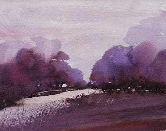 PURPLE DAWN, Eyemore Woods, Worcestershire. 2017. Original watercolour landscape painting.