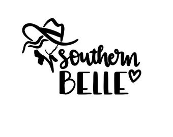Southern Belle Country Girl Cowgirl Vinyl Car Decal Bumper Window Sticker Any Color Multiple Sizes Jenuine Crafts