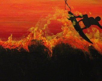 Night Surfer Poster of Painting