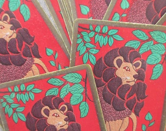Vintage Cards, Lion Playing Cards, Congress Cards, Art Moderne Style, Plastic Coated, Two Jokers, Craft Art Supply, Stylized Lion