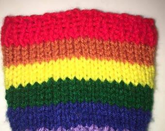 Gay pride knitted drink cozie, cosy, sleeve, rainbow pride