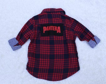 Upcycled Punk Rocker patched Flannel, 4T