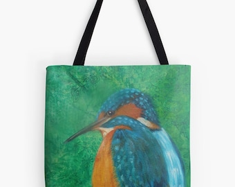 "Kingfisher Tote Bag - Artist's Mixed Media Painting Design. Two Sizes Available Medium 16"" and Large 18"""