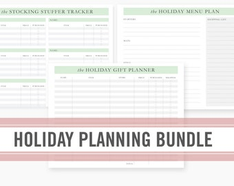 Holiday Planner Printable Bundle - with Modern Minimalist Christmas Gift and Menu Organizer, Stocking Stuffer Tracker, INSTANT DOWNLOAD