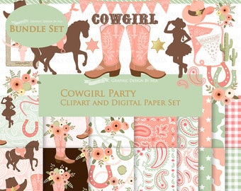 Cowgirl clipart, Cowgirl Digital Paper, Cowgirl Digital, Cowgirl Party, Cowgirl Boots, Cowboy Boots, Peach Clip Art + Digital Paper Set