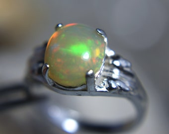 OPAL - Sizzling Genuine Ethiopian Welo Opal Cabochon Sterling Silver Solitaire Ring!