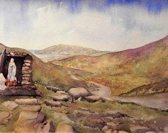 Mamore Gap, Urris, Co Donegal, Irish Art, Irish Watercolour, Ireland. Wild Atlantic Way.
