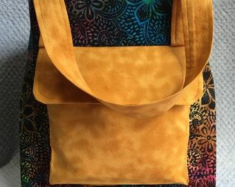 Rainbow Floral Batik Tote Bag
