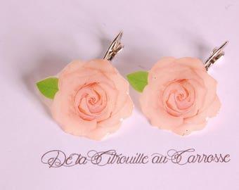 Pale pink rose earrings, pale pink flower earrings