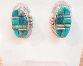 Native American Navajo handmade sterling silver and turquoise Cobblestone design earrings