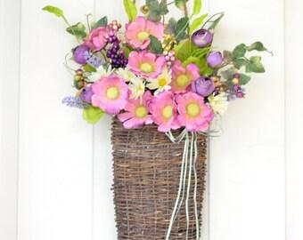 Purple flower basket Spring flower basket Purple ranunculus buds Wall basket Spring Decor Summer decor Pink wild flowers Front door decor