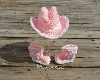 Newborn Girl Cowgirl Hat, Baby Girl Cowgirl Hat and Boots, Newborn Cowgirl Outfit, Baby Girl Cowboy Hat, Pink Cowgirl Hat and Boots Prop