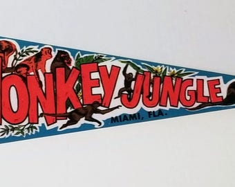 Monkey Jungle, Miami, Florida - Vintage Pennant