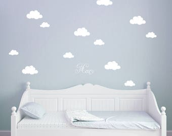 Wall Decal Clouds with Custom Name M1682