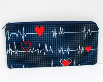 Nurse Pencil Pouch, Heartbeat Zippered Pouch, Heart Monitor, Nurse Gift, RN, LVN, Calling all Nurses Bag