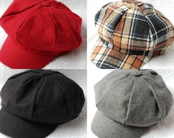 Newsboy Hat Adult (choose from Black, grey, red and checker)