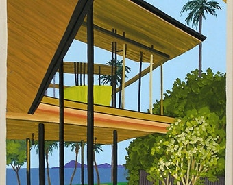 Mid Century Modern Eames Retro Limited Edition Print from Original Painting Beach House