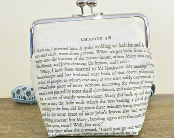 Jane Eyre Quote Purse - Clutch Bag Reader I Married Him - Charlotte Bronte Bridal Wedding Gift - Bookworm Bookish Literary For Women