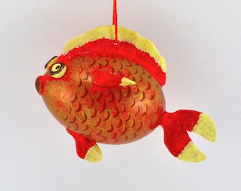 Goldfish Gift, Gourd Art, Gourdament, Holiday Ornament, fishing gift, Painted Gourd, Fish art, Unique gift,