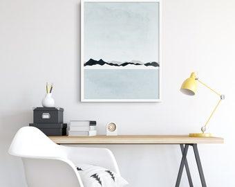Minimalist Art, Extra Large Wall Art, Modern Art Print, Scandinavian Print, Mountains, Oversized Wall Art, Iceland