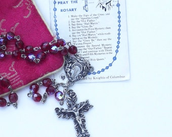 Vintage ROSARY BEADS, with cloth case and instruction card