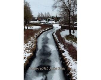 Thaw, Winter Photo, Landscape Photo, Print, Art Photography, Frozen Creek, Bavaria, Germany