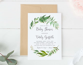 Baby Shower Invitation Gender Neutral Greenery Watercolor
