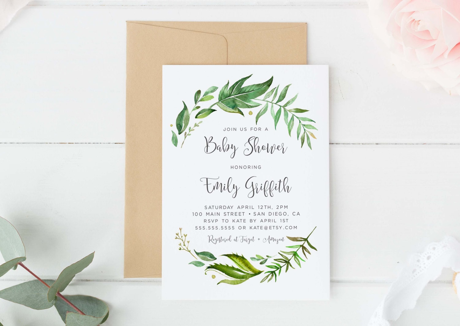 Greenery baby Shower invitation Baby shower invitation