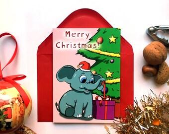 Cute Christmas Card, Elephant Card, Cute Xmas Card, Animal Card, Cartoon Card, Merry Christmas Card, Merry Xmas, Seasons Greetings