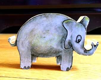 Elephant Toy, Wooden Toy, Kids Decor, Circus Elephant, Original Drawing
