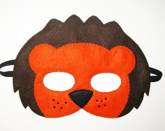 Lion felt mask - Brown Orange - animal mask for boys girls kids adults - soft Dress up play accessory - Theatre roleplay - photo props