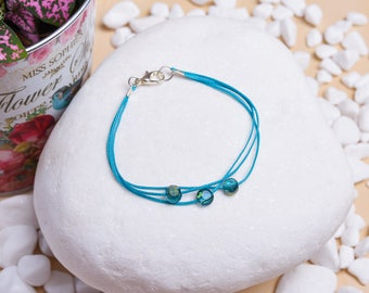 Hand Crafted Minimal Bracelet with Crystal Beads & Waxed Cord - Birthday Gift Idea Jewelry