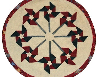 PDF Pattern - Patriotic Pinwheels 16 inch WoolFelt Table Mat