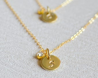 Set of eight Initial necklaces Personalized gold necklace pendant jewelry Bridesmaid gift necklace bridesmaid Gift 8 Stamped disc necklaces