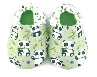 Panda soft soled baby shoes, Baby crib shoes, Green baby shoes