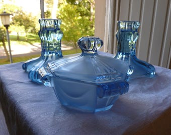 Stolzle Deco Vanity Set, Blue