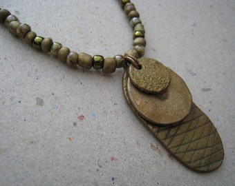 3 Bronze Gaming Pieces Stacked on Beaded Necklace - Bronze Pendant - Stacked Pendant