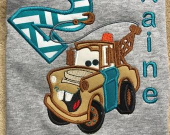 Tow Mater Birthday Shirt - Cars Birthday Shirt - Boys Personalized Shirt