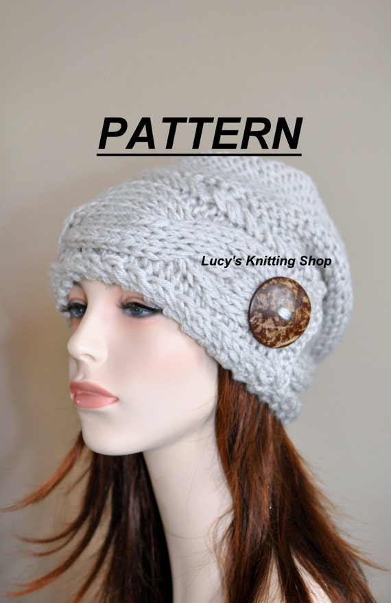 Slouchy Hat Pdf Pattern Diy Slouch Beanie Cable Button Knit